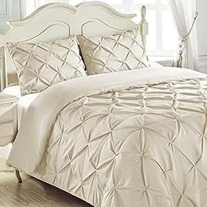 大号双人床和加大双人床家用双层缝制 3 件套别针褶皱盖被套装 米色 Cali King