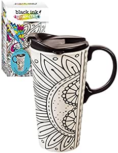 Cypress Home Color Your Own Ceramic Travel 咖啡杯,17 盎司带记号笔 Burst of Color 17 Ounce 3CTC5835B