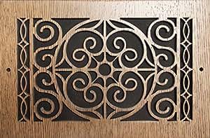 图案切割木格栅:1208 用于墙壁开口(厘米)= 30.48 x 20.32 厘米,整体尺寸(厘米)= 34.29 x 23.49 厘米,橡木,图案 R