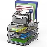 SimpleHouseware 3 件装可叠放桌面文件信纸托盘,带 5 个隔层阶文件整理器,黑色