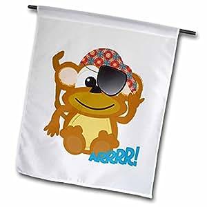 dooni Designs goofkins 人物–可爱 goofkins 猴子海盗卡通–旗帜 12 x 18 inch Garden Flag