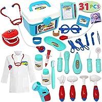 JOYIN 儿童医生工具包31件 过家家牙医工具包,带有电子听诊器和外套,可作为孩子节日礼物,以及学校和医生角色扮演服饰道具