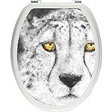 Pixxp/3D WCS 3967 32x40 Resting 猎豹马桶盖贴纸,WC,马桶盖,Gläzendes 材质 黑色/白色,40 x 32 厘米