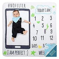 MeBlanky 婴儿月里程碑毛毯-3X 毛线新生儿月里程碑毛毯-119.38 厘米 x 119.38 厘米 超柔软羊毛里程碑毛毯-新生儿照片毯-男孩或女孩 天蓝色