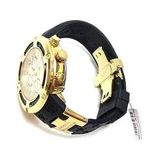 Aqua Master El Russo Chrono * 真钻男式手表金色表盘黑色橡胶表带