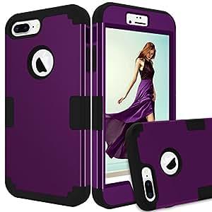 iPhone 8 Plus 手机壳,iPhone 7 Plus 手机壳,KAMII【重型】防摔硬质 PC 软硅胶组合混合防冲击全机壳iPhone 8 Plus / 7 Plus 5.5 英寸4334984374 紫色+黑色