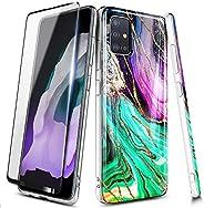 E-Began 三星 Galaxy J7 2018 手机壳,J7 Star/J7 皇冠/J7 Refine/J7 TOP/J7 V *二代/J7 Aura/J7 Aero 带钢化玻璃屏幕保护膜,超薄光泽,金色闪光大理石设