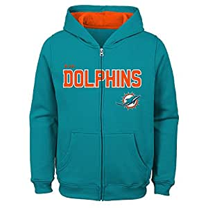 NFL 迈阿密海豚队儿童及青年男孩款全拉链羊毛连帽衫,水绿色,儿童 S 码 (4)