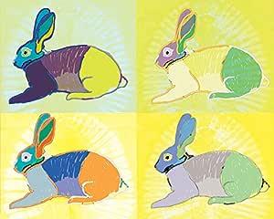 Art Group The Turnowsky (Rabbit Round The Clock) - 帆布画 40 x 50 厘米,木质,多色,40 x 50 x 1.3 厘米