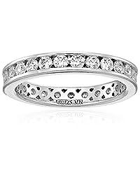 镀铂金标准纯银施华洛世奇锆石镶嵌永恒戒指  透明