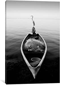 iCanvasART 7321 Canoe and a Heron by Moises Levy Canvas Print, 18 by 12-Inch, 1.5-Inch Deep
