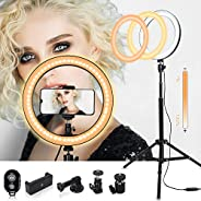 Uthlusty 自拍环灯 25.4cm 带可调节三脚架支架和手机支架,自带 LED 环形灯适用于Vlogs、Live Stream、彩妆、手机、YouTube、自拍照。