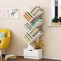 创意树形书柜简约学生寝室书桌书房落地式置物架抽屉收纳柜储物柜飘窗格子柜子靠墙书架 (A款7层暖白色)