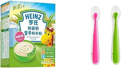 Heinz亨氏铁锌钙营养奶米粉225g+美国 Munchkin 满趣健 婴儿全硅胶软勺2只