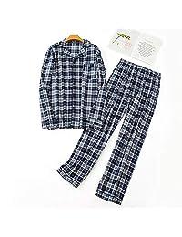 Naturhand 南禾 秋冬男士长袖长裤睡衣 绒布家居服 睡衣套装欧码外贸格子