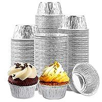 铝箔拉米金,小一次性烘焙杯,[150包] Ramekins 松饼杯耐用优质一次性铝箔面包杯,4 盎司一次性烘焙杯,可装纸杯蛋糕、蛋奶酥或迷你零食