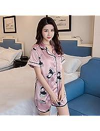2019新款冰丝睡衣女夏季短袖开衫翻领两件套仿真丝家居服可外穿套装