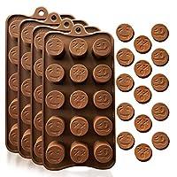 硅胶烘焙、糖果和巧克力模具:小型柔性模具用于塑造各种新奇形状的硬糖或软糖糖糖 Brown ( 4-Pack Emoji Molds )
