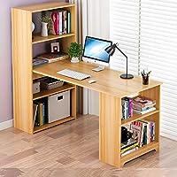 带书柜组合电脑桌台式转角办公桌书桌书架一体桌小户型书桌简约定制写字台 (120cm尼亚美胡桃色)