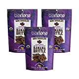 Barnana Organic Crunchy Banana Brittle - Dark Chocolate, 3.5 Ounce (3 Count) - Healthy Vegan Cookie Style Dessert Snack - Made with Sustainable, Eco Friendly Upcycled Bananas