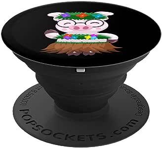 炫酷夏威夷流浪猪   趣味鸟类爱好者绿舞蹈礼物 PopSockets 手机和平板电脑握架260027  黑色