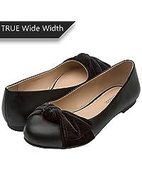 Luoika 女士宽平底鞋 - 舒适一脚蹬圆头芭蕾平底鞋 黑皮革 10 W(W) US