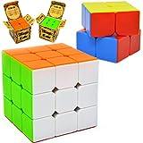 JOYIN Speed Cube 2 件装魔力魔方 3x3 和 2x2 Rubiks 魔方,易于旋转贴纸防爆结构,经久耐用