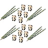 J&J's ToyScape 熊猫铅笔(12 件)及橡皮擦(12 件)固定趣味生日派对礼品,精美袋填料,教室,学生学校用品