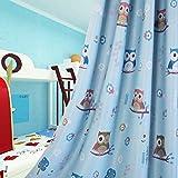 MYRU 2 片式半遮光猫头鹰窗帘,适合女孩、男孩、儿童房育儿 蓝色 2x 39x52 Inch Myru
