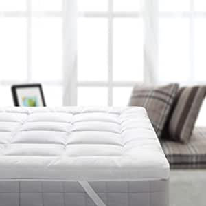 Royal Bedding 毛绒竹填充床垫罩,5.08 厘米厚低*填充备用锚带床垫套,软棉外壳 白色 Queen