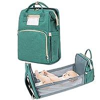 婴儿床便携式旅行妈咪包尿布背包,婴儿和幼儿婴儿床摇篮婴儿巢睡衣带床垫可折叠换尿布台(*)
