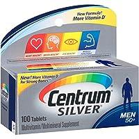 Centrum 善存 银装 男士复合维生素/多种矿物质补充剂,维生素D3,50岁以上,100片,4瓶装