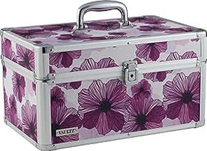 Vaultz Makeup Artist Case, 9.75 x 15.38 x 9.13 Inches, Purple Floral (VZ03749)