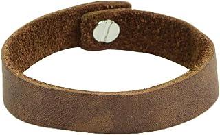带乡村风格扣的软皮手镯(17.78 厘米腕带)由 Hide & Drink 手工制作:波旁棕色