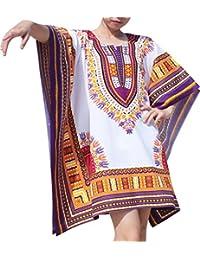 RaanPahMuang 品牌节日衬衫蝙蝠袖翻盖明亮非洲大吉印花