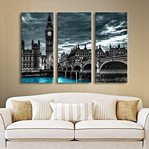 ArtWall Revolver Ocelot 'London' 3-Piece Gallery-Wrapped Canvas Artwork, 24 by 36-Inch