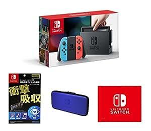 任天堂(Nintendo) Switch 游戏机 掌机 ns 掌上游戏机便携 Switch NS 日版 彩色 + 专用屏幕保护膜 + 蓝色收纳包