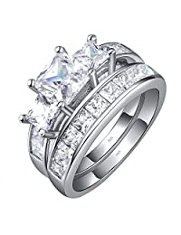 MABELLA 标准纯银 3 钻方晶锆石公主型切割女士结婚订婚新娘戒指套装情人节礼物