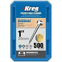 Kreg SPS-F1-500 口袋孔螺钉 2.54 厘米 #2 精细方形驱动器 500 克拉