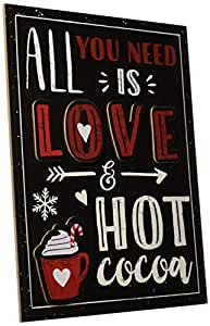 Amscan Love and Hot Cocoa 画架标志,圣诞装饰,黑色纤维板,26.67 cm 宽 x 35.56 cm 高