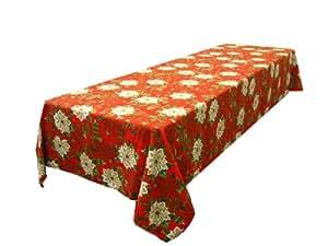 LA Linen 假日圣诞府绸印花桌布,142.24 x 304.80 厘米 红色 TC56X120poinsettiaRed