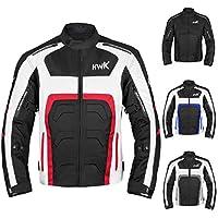 男式紡織摩托車夾克雙運動耐力摩托車騎行夾克透氣 CE ARMORED 防水 XXXX-Large 紅色 Red Motorcycle Jacket 4XL