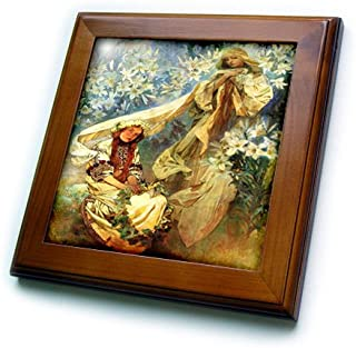 3dRose ft_61777_1 Alphonse Muchas Painting Madonna of The Lillies-Framed Tile, 8 by 8-Inch