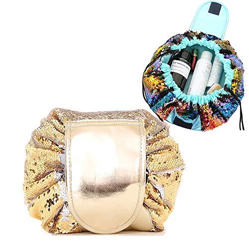 Lemoncy怠惰なポータブル化粧品バッグ、防水巾着化粧品袋、大容量の旅行化粧品袋、男女兼用