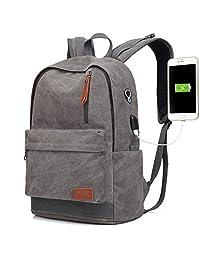 帆布笔记本电脑背包,防水学生背包带 USB 充电端口,适合男士女士,复古防盗旅行日背包,大学学生背包,*大适合 15.6 英寸电脑