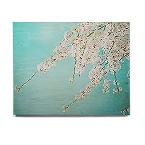 "KESS InHouse Monika Strigel""Hanami""蓝绿色白色桦木墙壁艺术 11"" x 14"" MS2056AHW04"