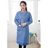 尚品屋 厨房家居服长袖围裙格子罩衣反穿衣 (小格--蓝)