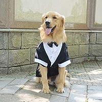 Lovelonglong 宠物服装狗狗套装正式燕尾服带黑色蝴蝶结,适合大型中型小型犬猫咪服装 黑色 L-L (Large Dog)