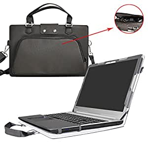 """Lenovo Ideapad 510 15 Case,Coustom Designed Protective PU Cover + Portable Carrying Bag With Handle Shoulder Strap For 15.6"""" Lenovo Ideapad 510 15 Serise Laptop 黑色 15.6 Inches"""