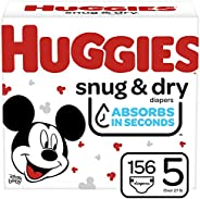 Huggies Snug & Dry 嬰兒尿布 NEW One Month Supply Pack Size 5 (156 Co